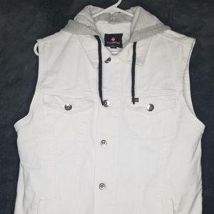 Southpole White Denim Hooded Vest